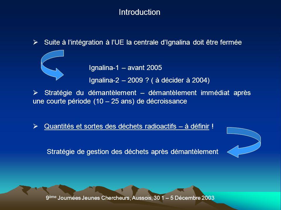 Introduction Suite à l'intégration à l'UE la centrale d'Ignalina doit être fermée. Ignalina-1 – avant 2005.