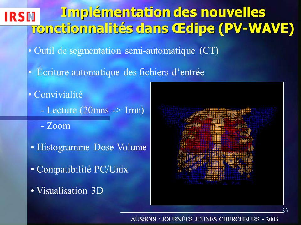 Implémentation des nouvelles fonctionnalités dans Œdipe (PV-WAVE)