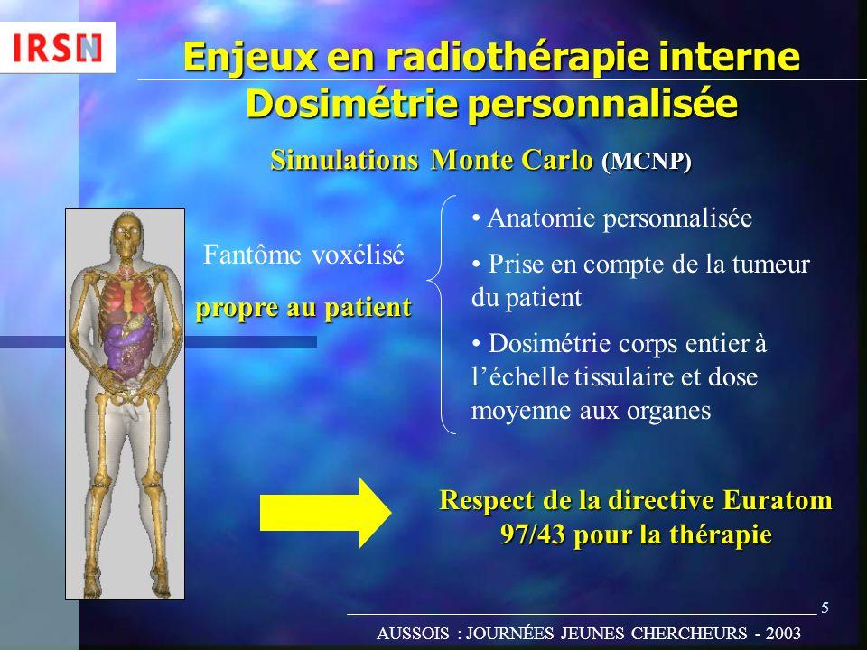 Enjeux en radiothérapie interne Dosimétrie personnalisée