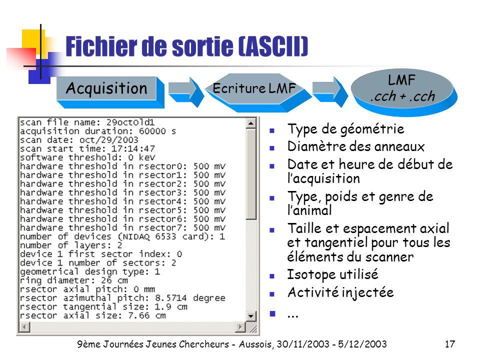 Fichier de sortie (ASCII)