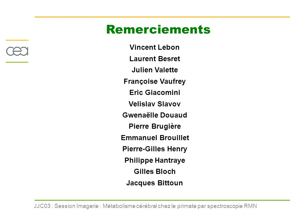 Remerciements Vincent Lebon Laurent Besret Julien Valette
