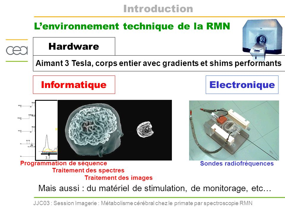 Introduction L'environnement technique de la RMN Hardware Informatique