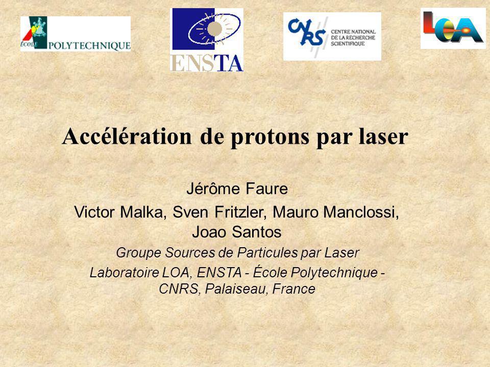 Accélération de protons par laser