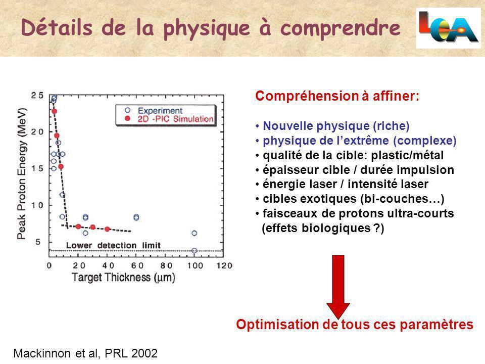 Détails de la physique à comprendre