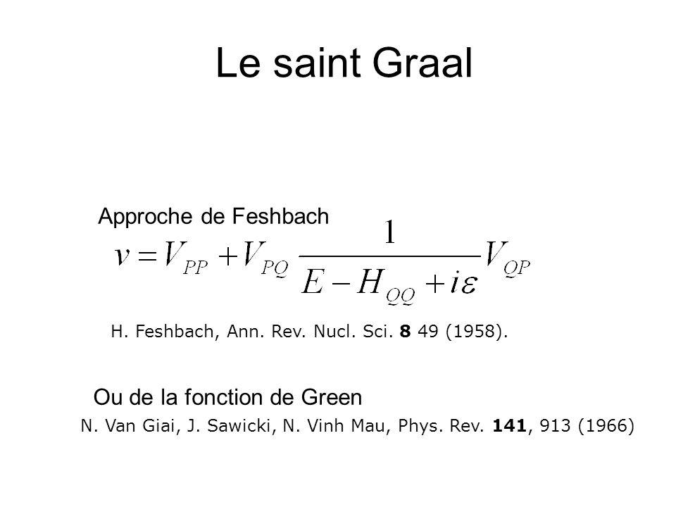 Le saint Graal Approche de Feshbach Ou de la fonction de Green