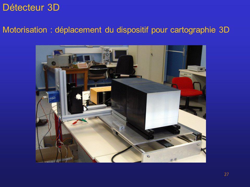 Détecteur 3D Motorisation : déplacement du dispositif pour cartographie 3D