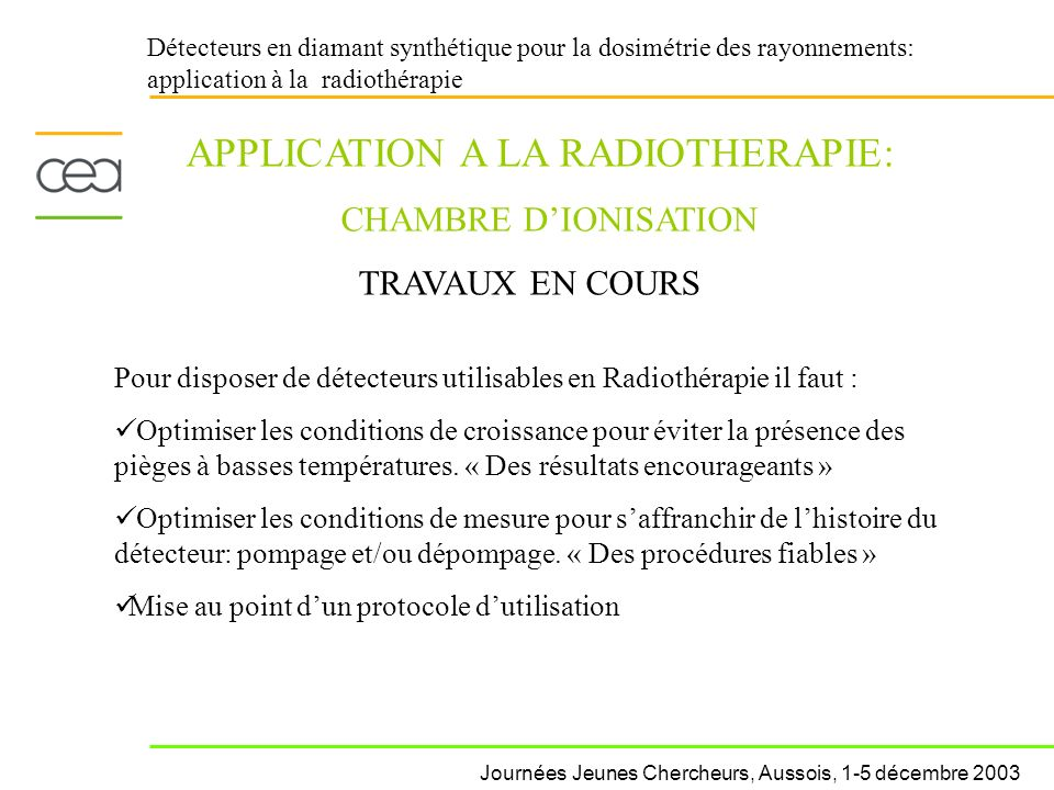APPLICATION A LA RADIOTHERAPIE: