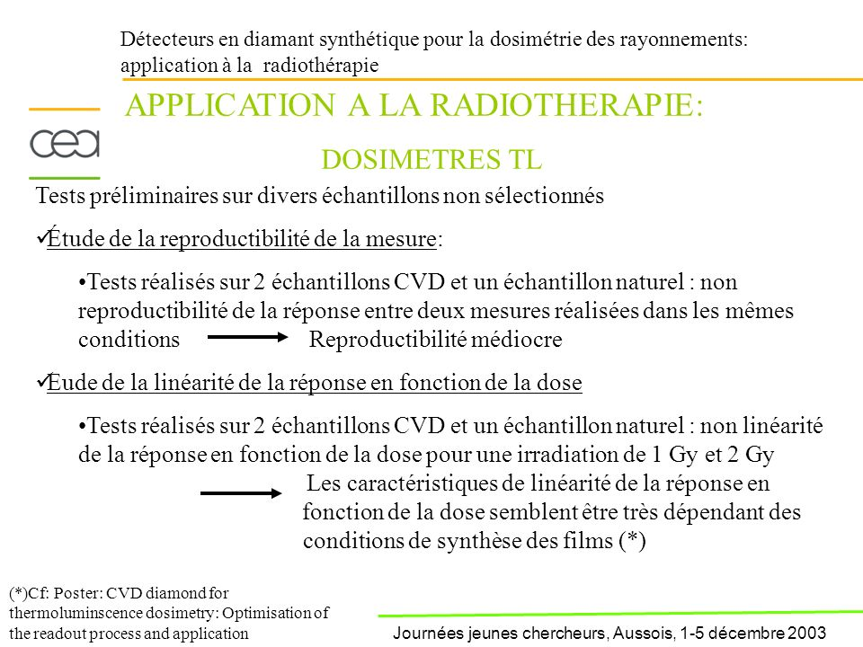 conditions de synthèse des films (*)