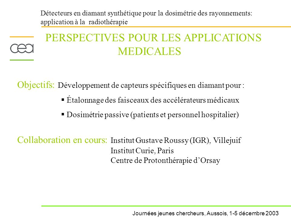 PERSPECTIVES POUR LES APPLICATIONS MEDICALES