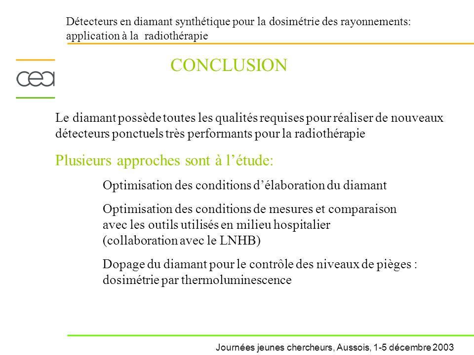 CONCLUSION Plusieurs approches sont à l'étude: