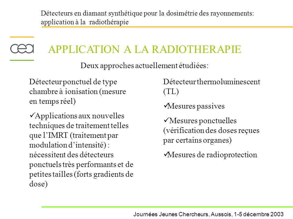 APPLICATION A LA RADIOTHERAPIE