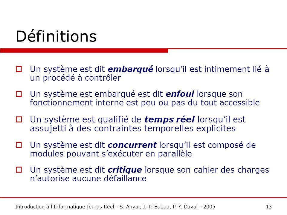 Définitions Un système est dit embarqué lorsqu'il est intimement lié à un procédé à contrôler.