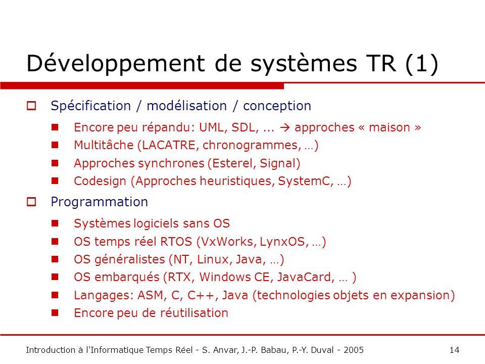 Développement de systèmes TR (1)