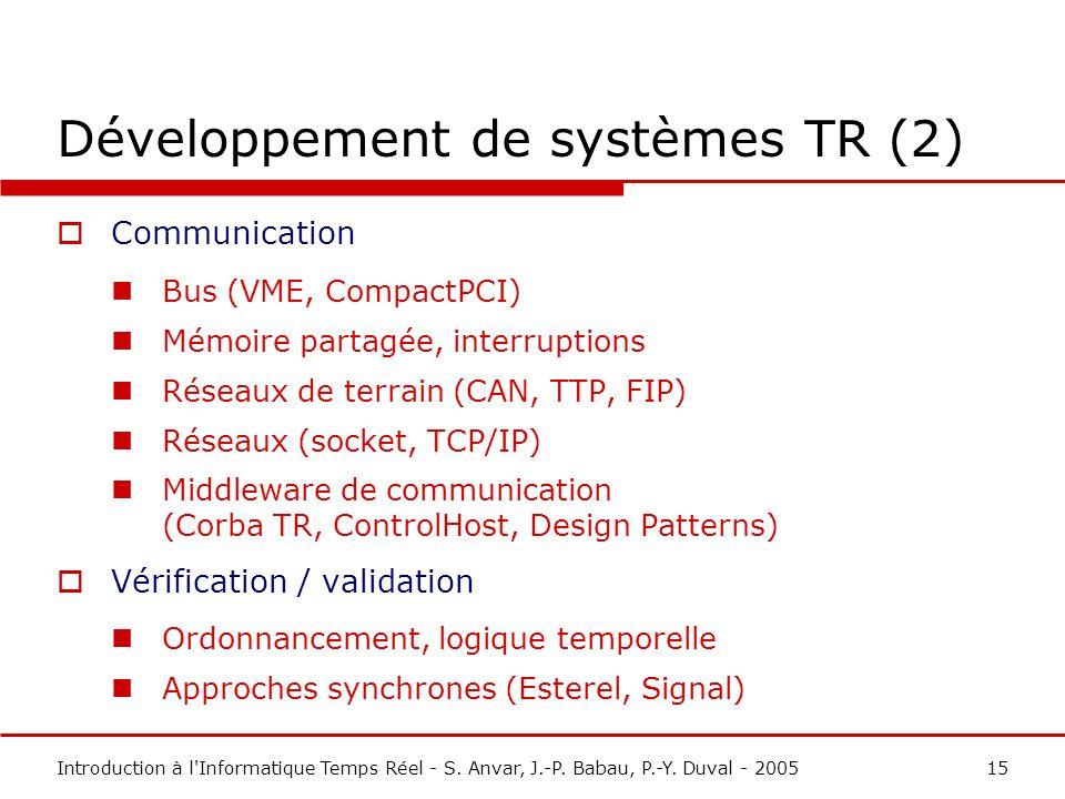 Développement de systèmes TR (2)