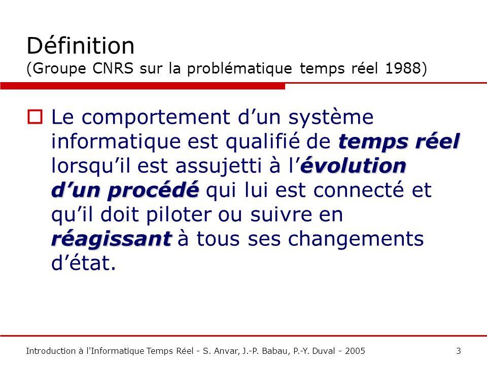 Définition (Groupe CNRS sur la problématique temps réel 1988)