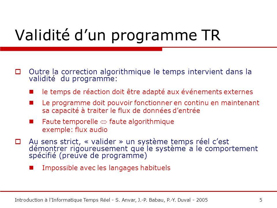 Validité d'un programme TR