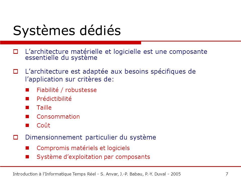 Systèmes dédiés L'architecture matérielle et logicielle est une composante essentielle du système.