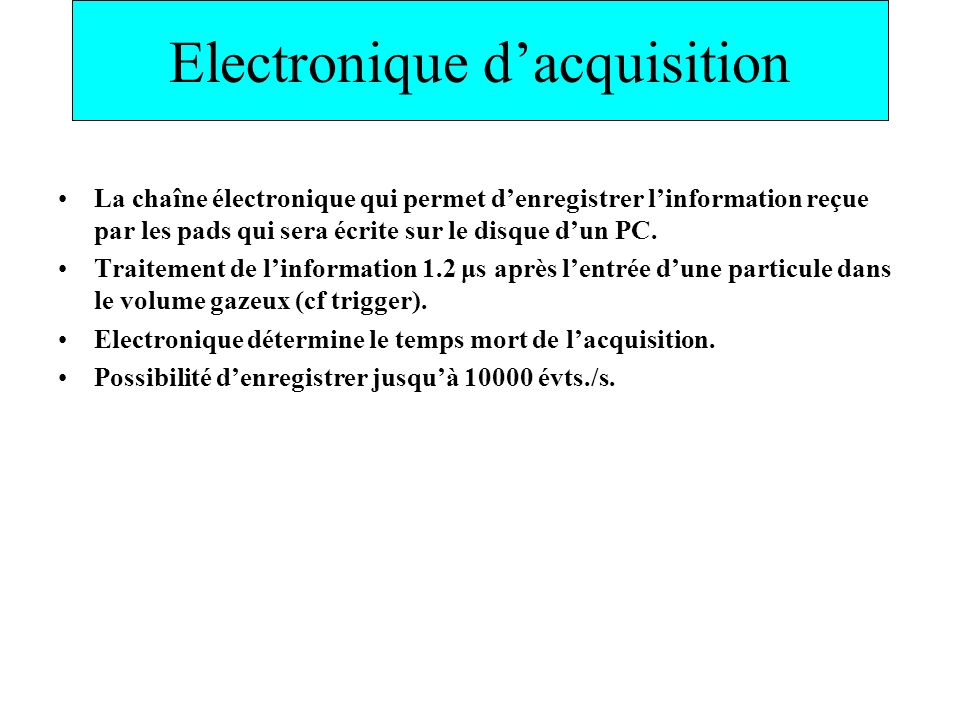 Electronique d'acquisition