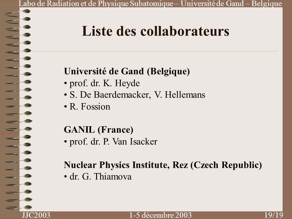 Liste des collaborateurs