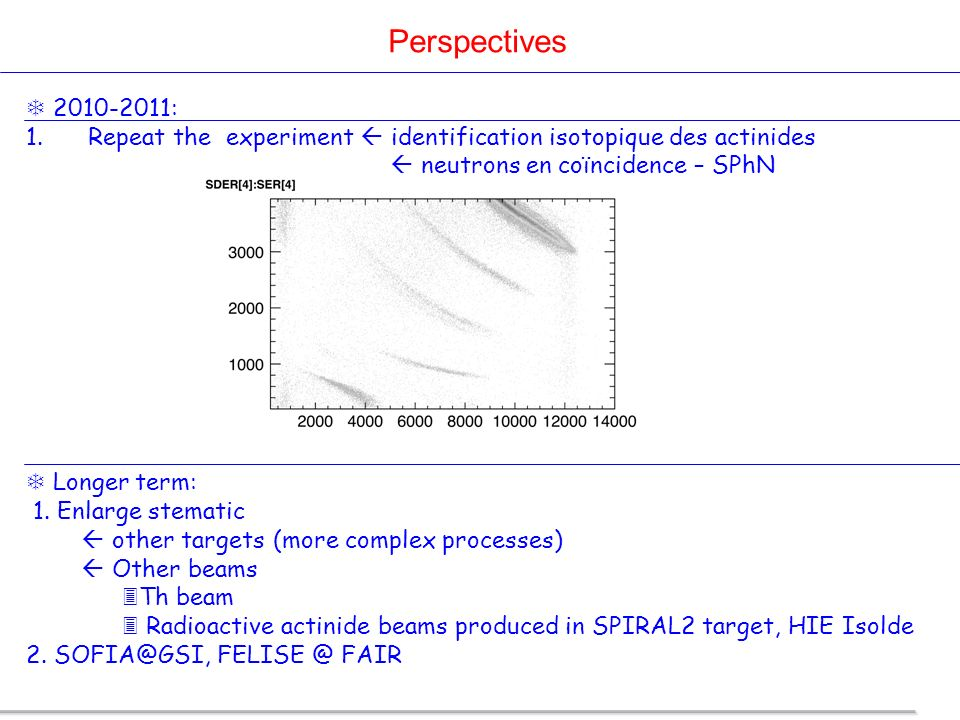 Perspectives 2010-2011: Repeat the experiment  identification isotopique des actinides.  neutrons en coïncidence – SPhN.