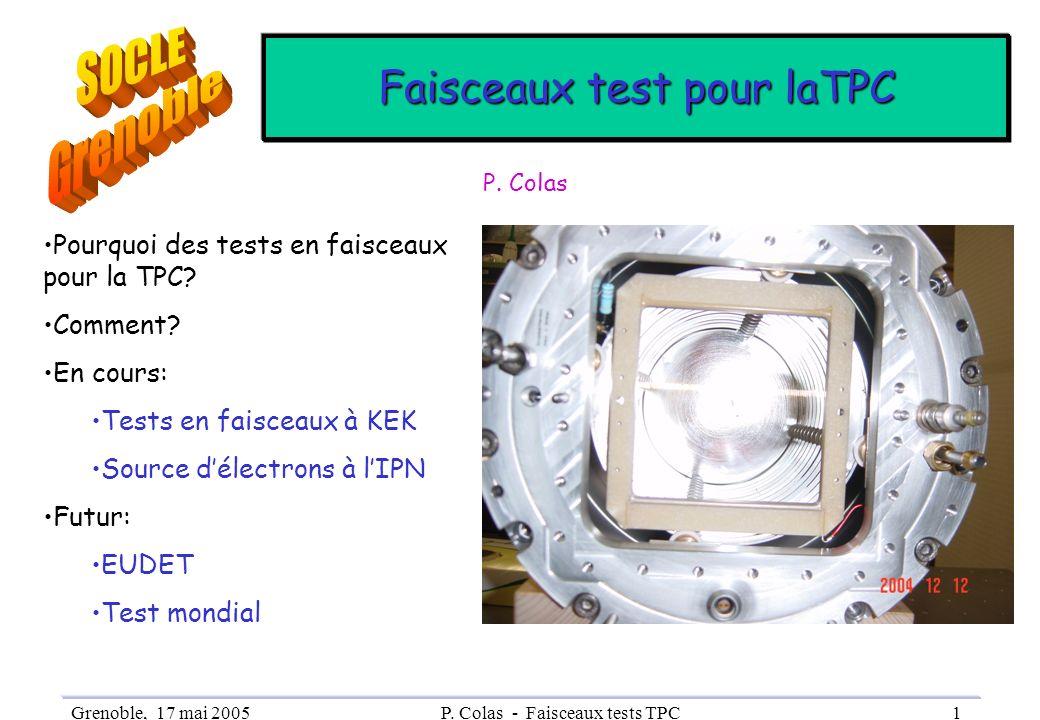 SOCLE Grenoble Faisceaux test pour laTPC