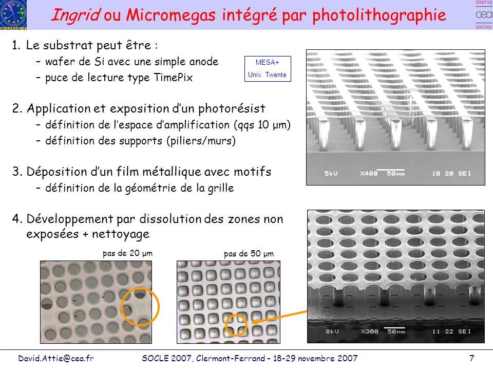 Ingrid ou Micromegas intégré par photolithographie