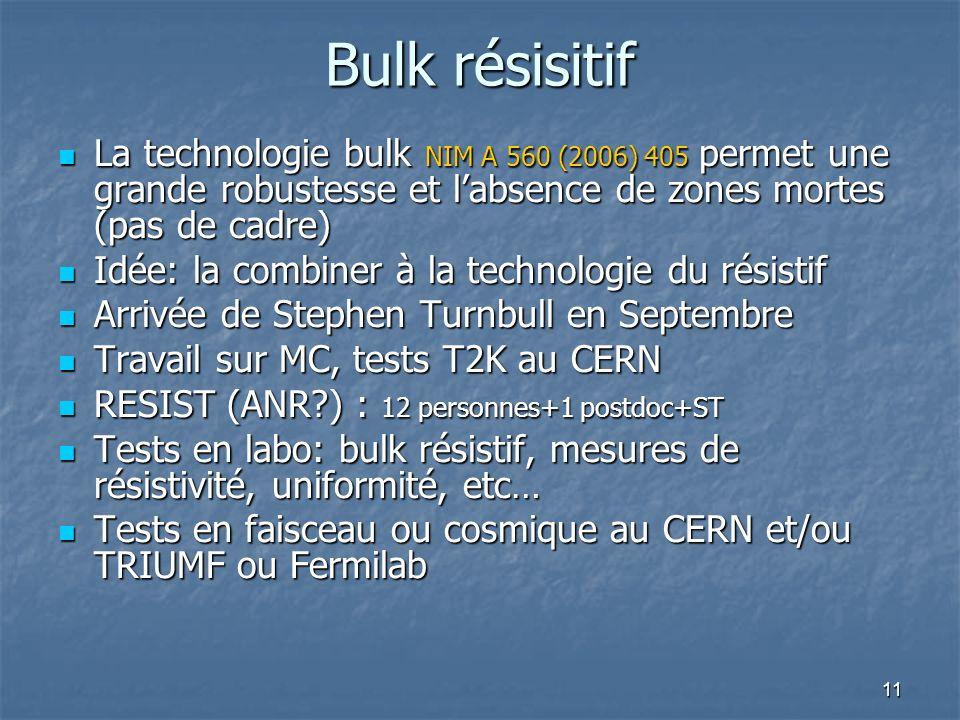 Bulk résisitif La technologie bulk NIM A 560 (2006) 405 permet une grande robustesse et l'absence de zones mortes (pas de cadre)