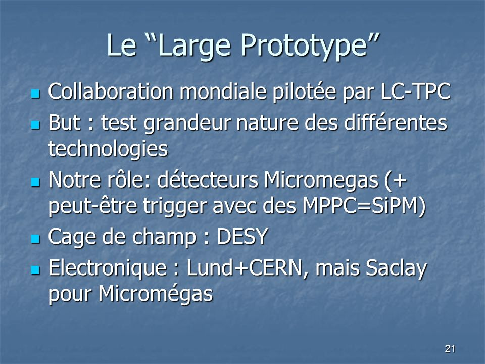 Le Large Prototype Collaboration mondiale pilotée par LC-TPC