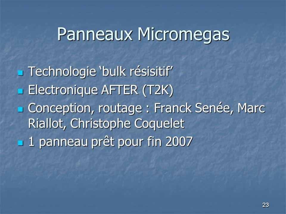 Panneaux Micromegas Technologie 'bulk résisitif'
