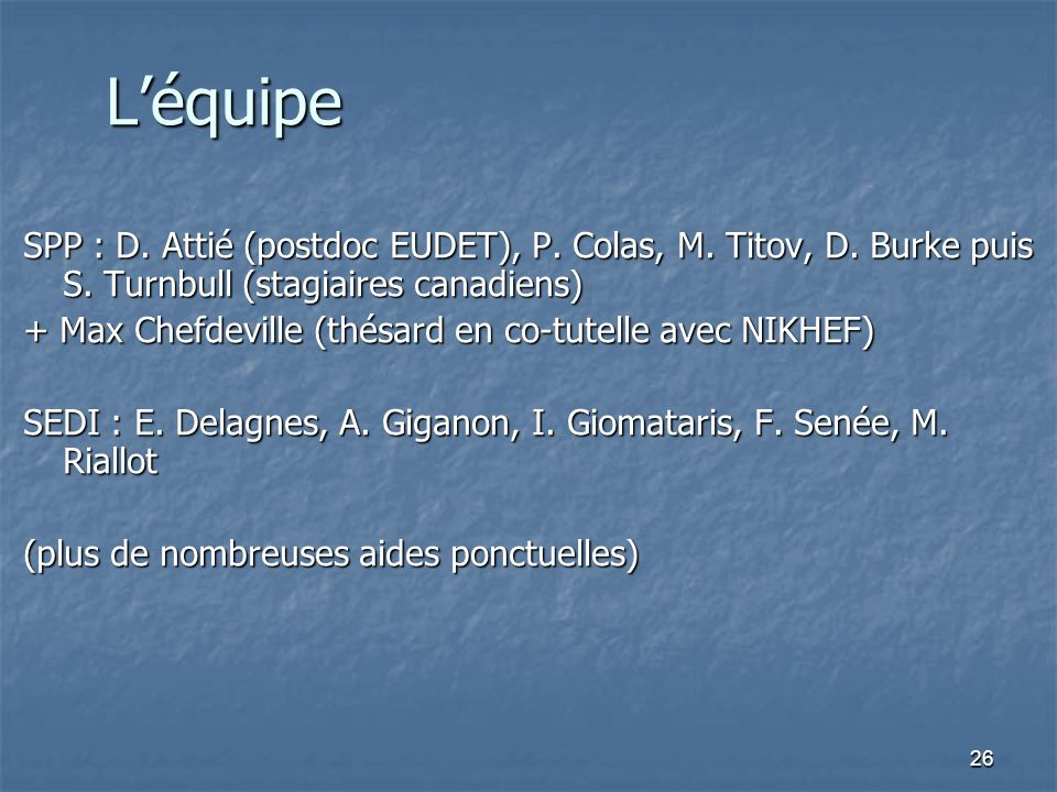 L'équipe SPP : D. Attié (postdoc EUDET), P. Colas, M. Titov, D. Burke puis S. Turnbull (stagiaires canadiens)