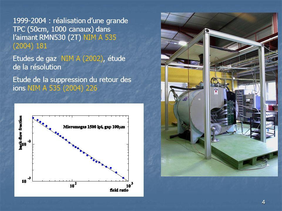 1999-2004 : réalisation d'une grande TPC (50cm, 1000 canaux) dans l'aimant RMN530 (2T) NIM A 535 (2004) 181