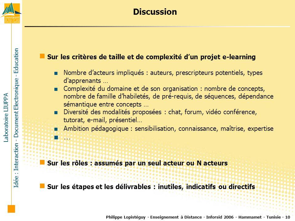 Discussion Sur les critères de taille et de complexité d'un projet e-learning.