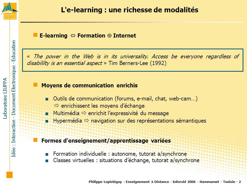 L e-learning : une richesse de modalités