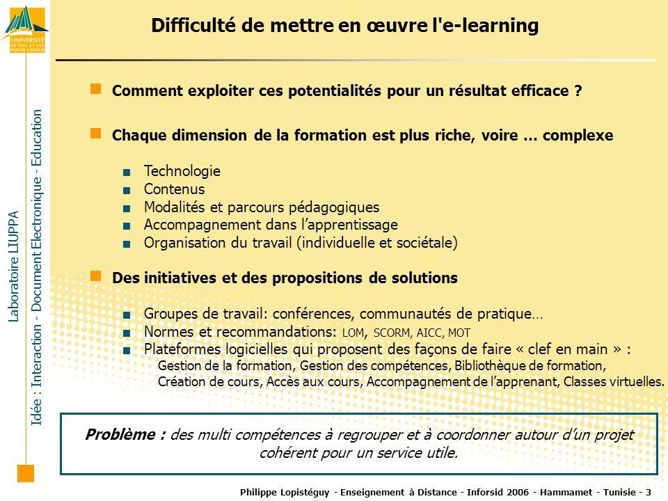 Difficulté de mettre en œuvre l e-learning