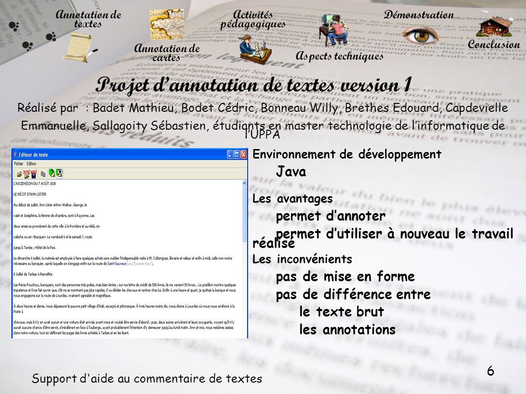 Projet d'annotation de textes version 1