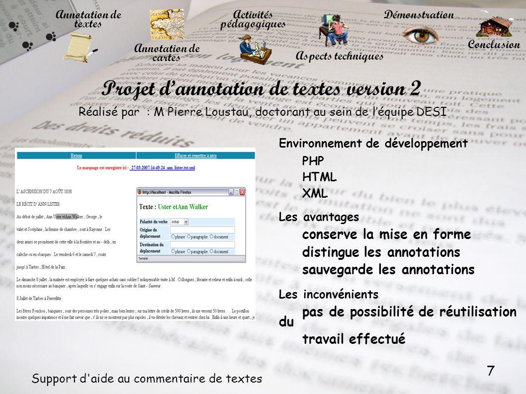 Projet d'annotation de textes version 2