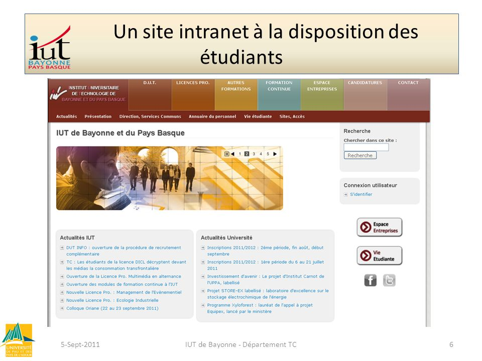 Un site intranet à la disposition des étudiants