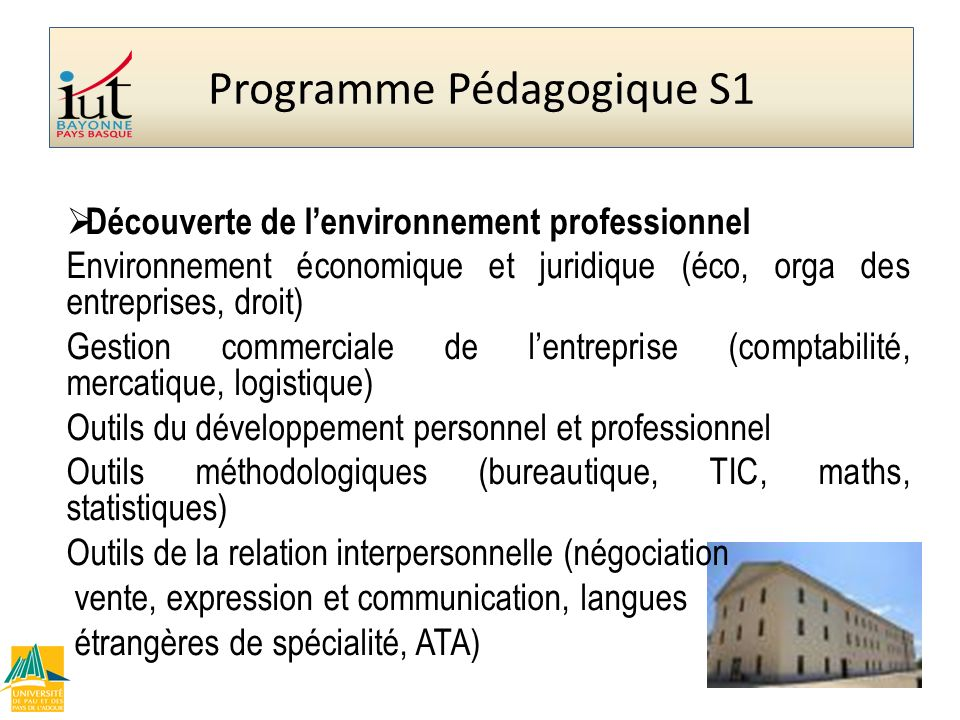 Programme Pédagogique S1