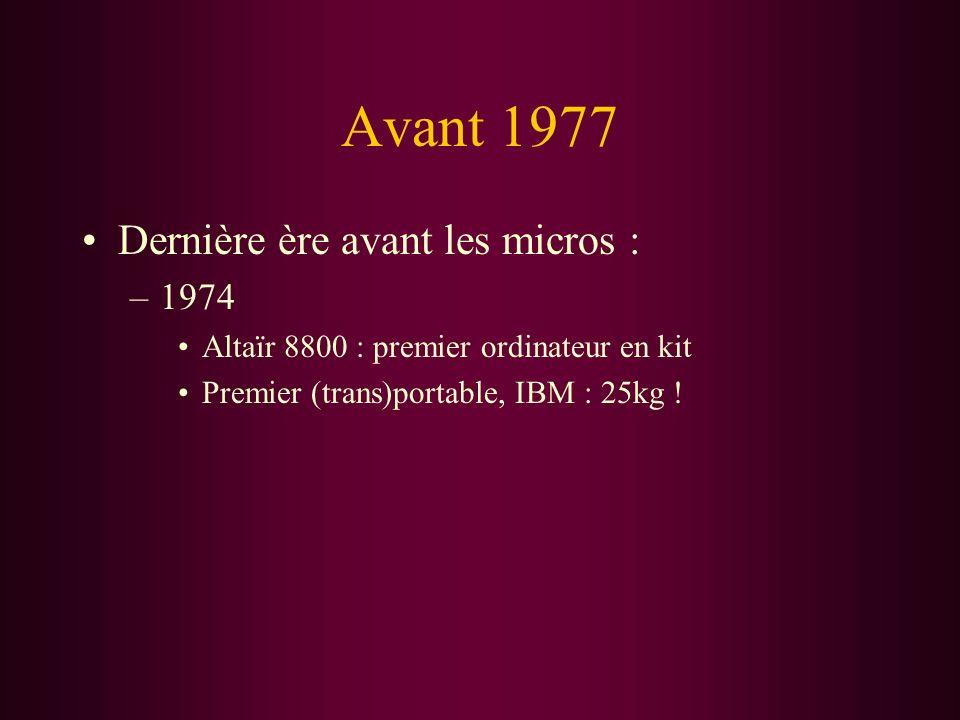 Avant 1977 Dernière ère avant les micros : 1974