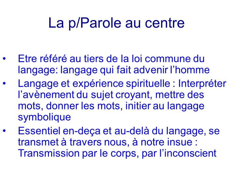 La p/Parole au centreEtre référé au tiers de la loi commune du langage: langage qui fait advenir l'homme.