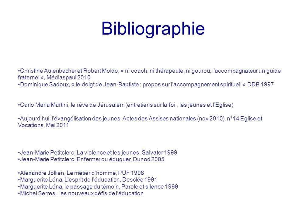 BibliographieChristine Aulenbacher et Robert Moldo, « ni coach, ni thérapeute, ni gourou, l'accompagnateur un guide fraternel », Médiaspaul 2010.