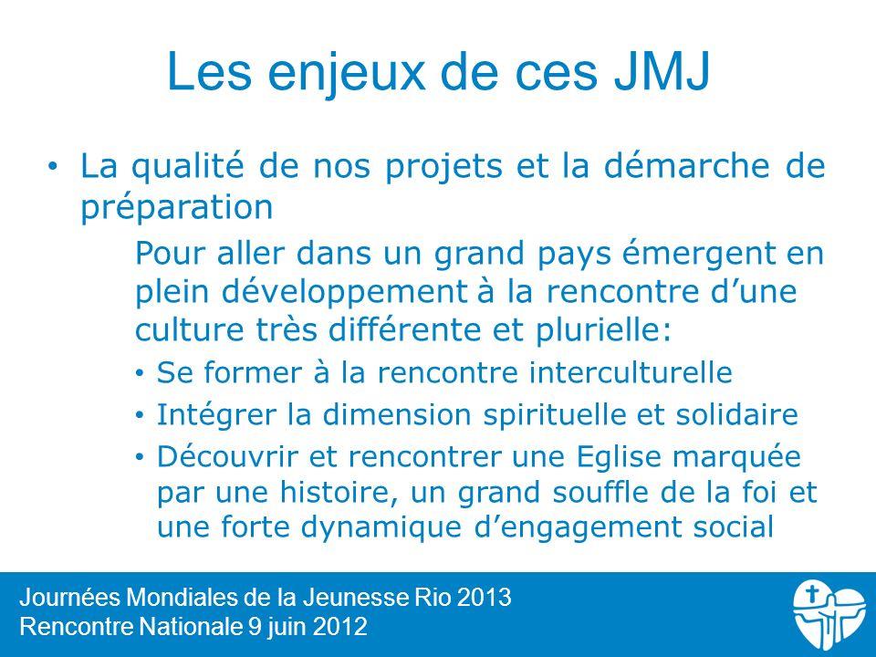 Les enjeux de ces JMJ La qualité de nos projets et la démarche de préparation.
