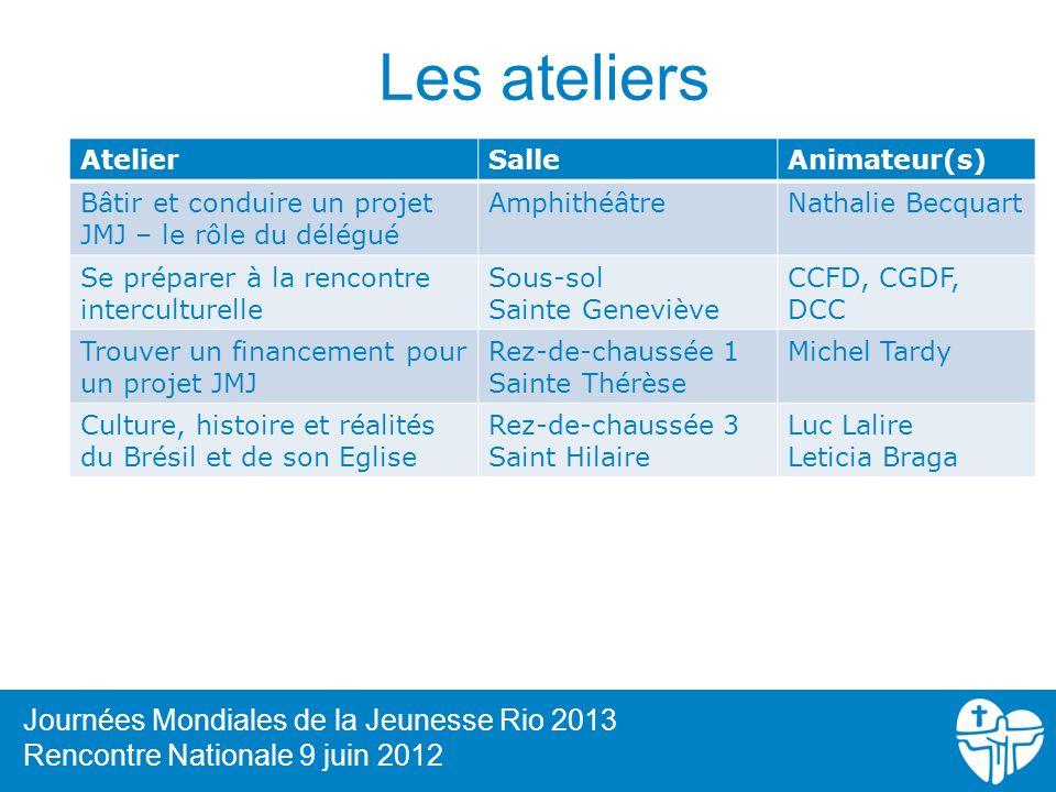 Les ateliers Journées Mondiales de la Jeunesse Rio 2013