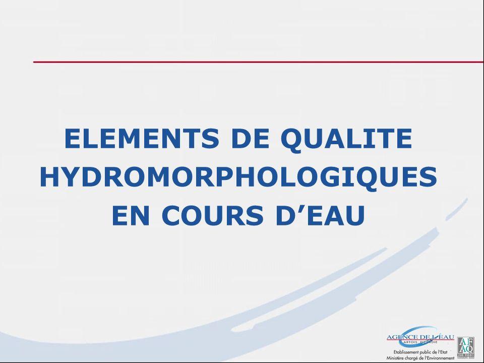 ELEMENTS DE QUALITE HYDROMORPHOLOGIQUES EN COURS D'EAU