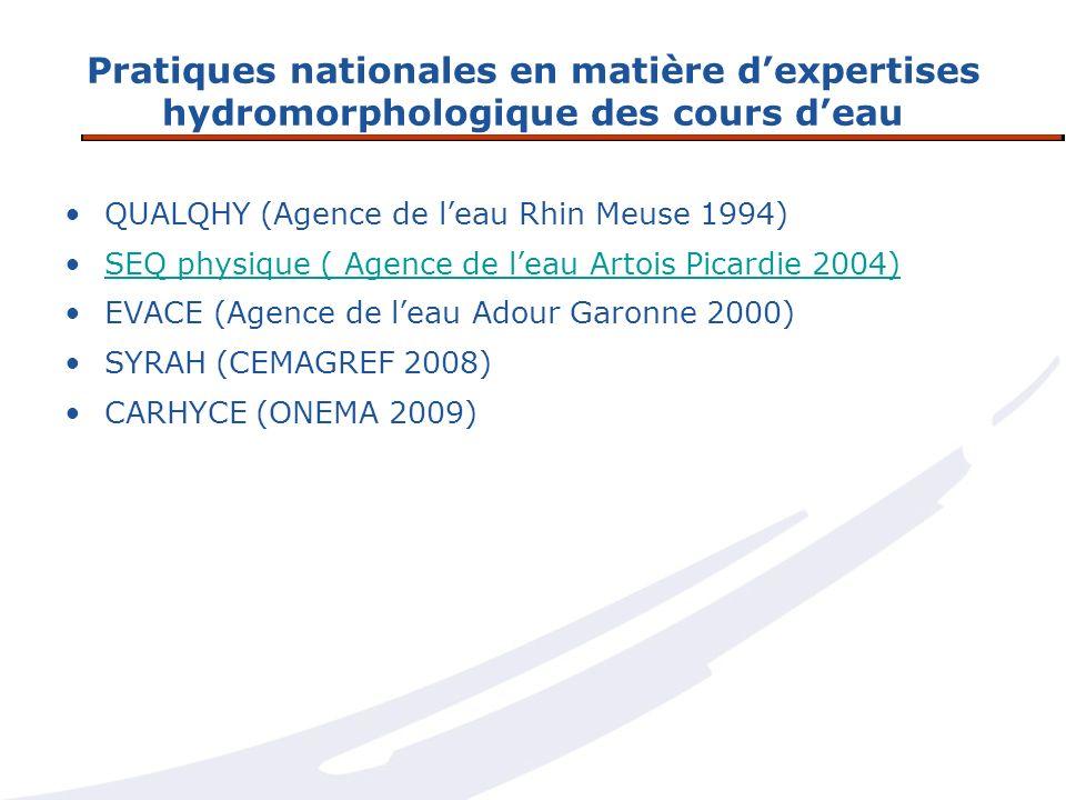 Pratiques nationales en matière d'expertises hydromorphologique des cours d'eau