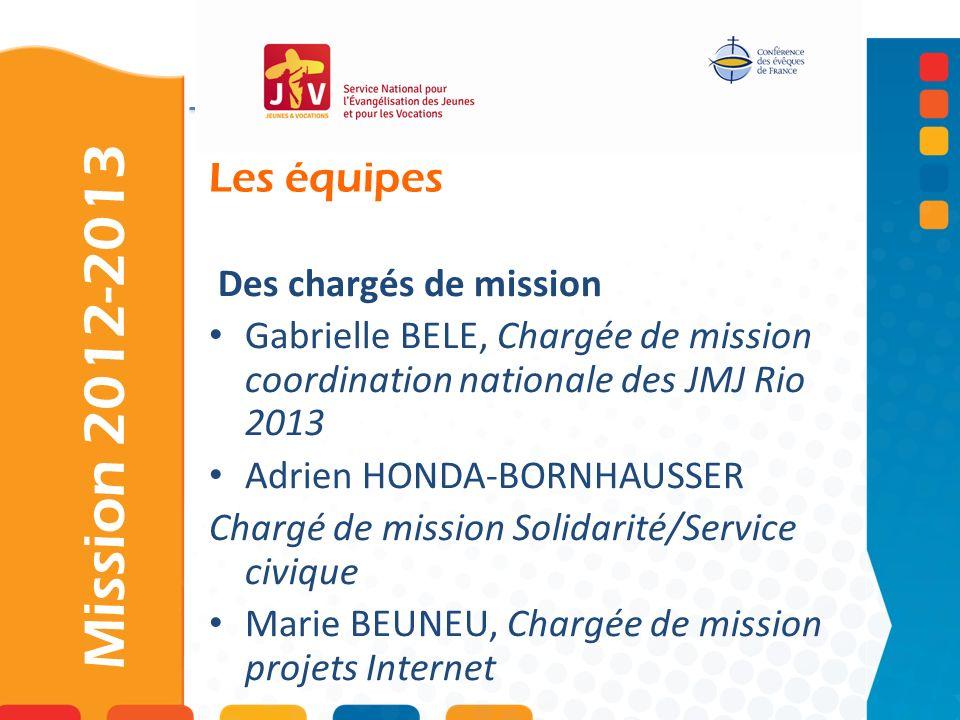 Mission 2012-2013 Les équipes Des chargés de mission
