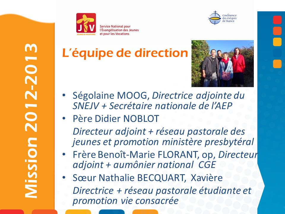 Mission 2012-2013 L'équipe de direction