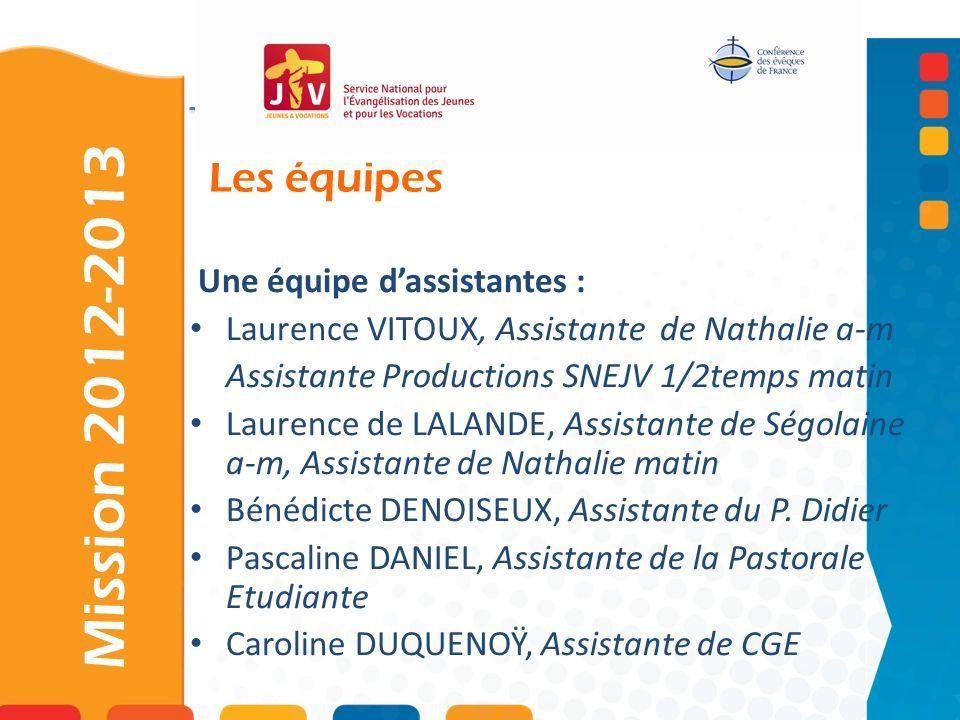 Mission 2012-2013 Les équipes Une équipe d'assistantes :