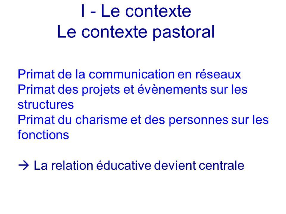 I - Le contexte Le contexte pastoral