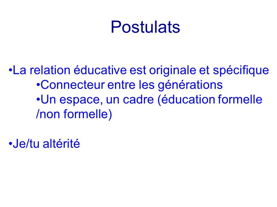 Postulats La relation éducative est originale et spécifique